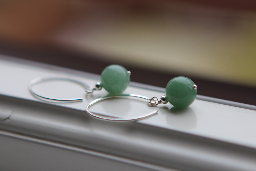 Silver Earrings in green Agate