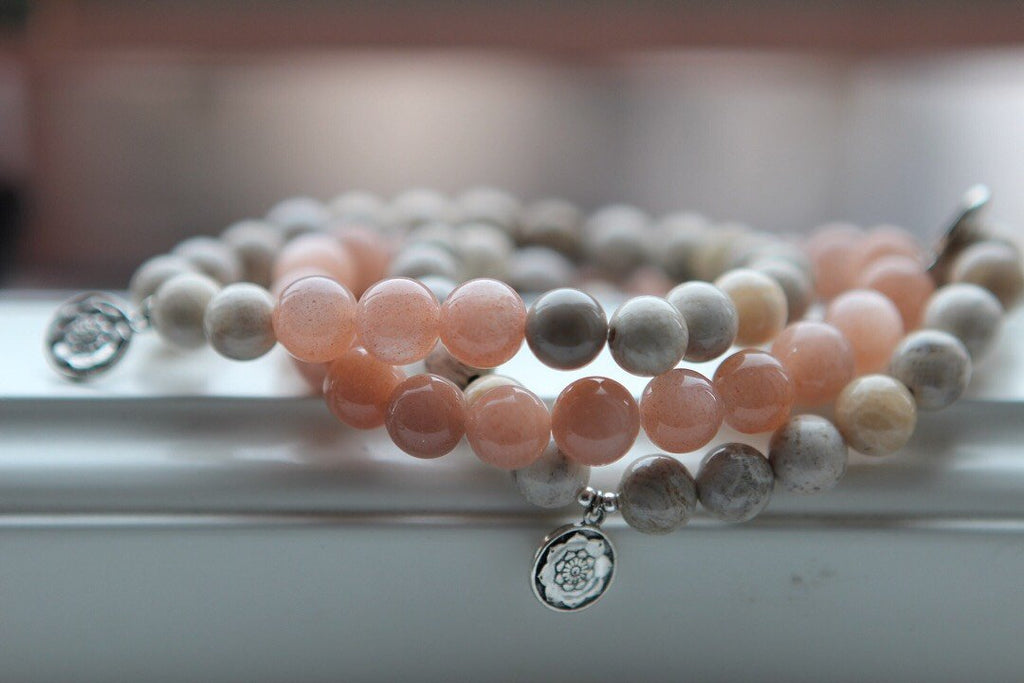 Peach Moonstone Bracelet with silver charm Lotus Mandala