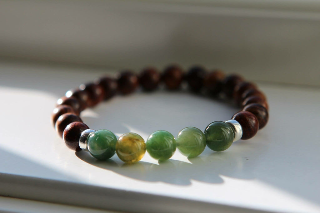 STRENGTH Mens Bracelet Wood & Green Agate with silver details
