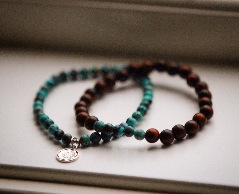 PROTECTION Mala bracelet set in genuine Turquoise & Sandal wood and silver Lotusmandala charm