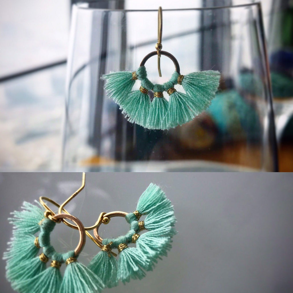 HAPPY Tassel earrings in gold plated silver