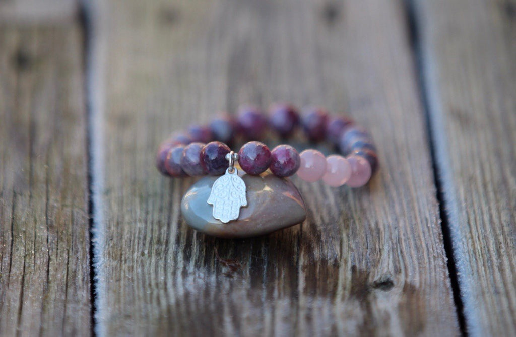 Hamsa protective bracelet in Chinese Tourmaline and Rose quartz with silver charm Hamsa hand