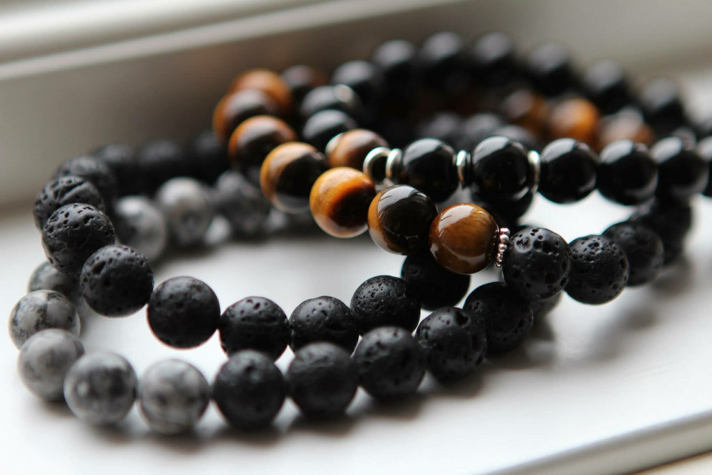 PROTECTION Mens bracelet Lava stone & Tigereye