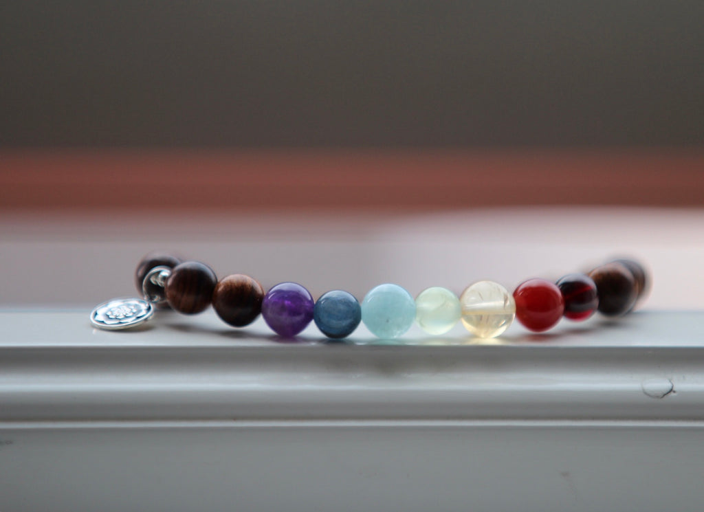 Premium Chakra bracelet in Rosewood with silver charm Lotus flower