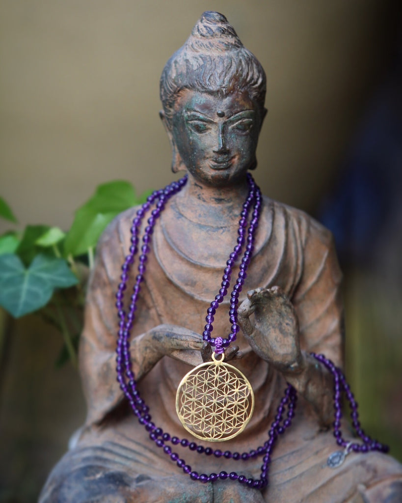 Truly Grateful mala in 216 beads Amethyst with brass gurubead Flower of Life