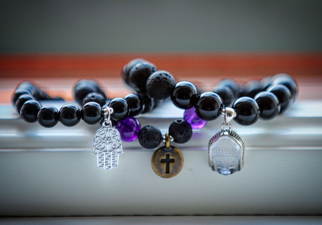 I am protected bracelet in Black Agate & Lava with silver Hamsa charm