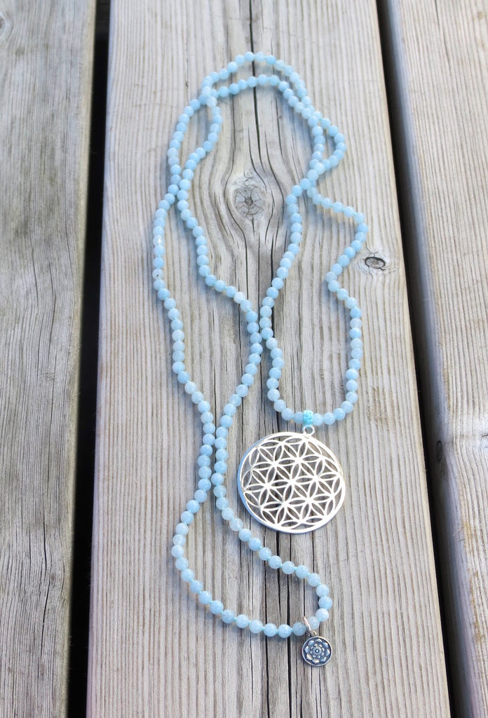 Truly Grateful mala in 216 beads Aquamarine with silver Flower of Life