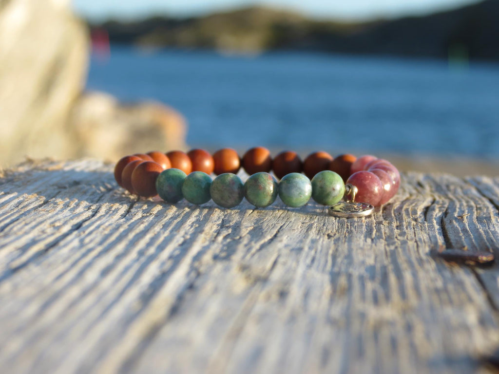 Bracelet/Mini mala in Ruby in Zoisite and chinese Tourmaline with silver charm Lotus mandala