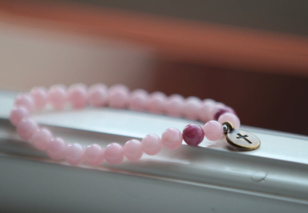 I am loved bracelet in Rose quartz & Tourmaline with brass crusifix charm
