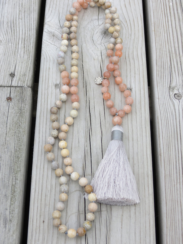 BE WATER -  Mala Necklace in Coral, Moonstone and silk tassel, silver charm Lotus Mandala