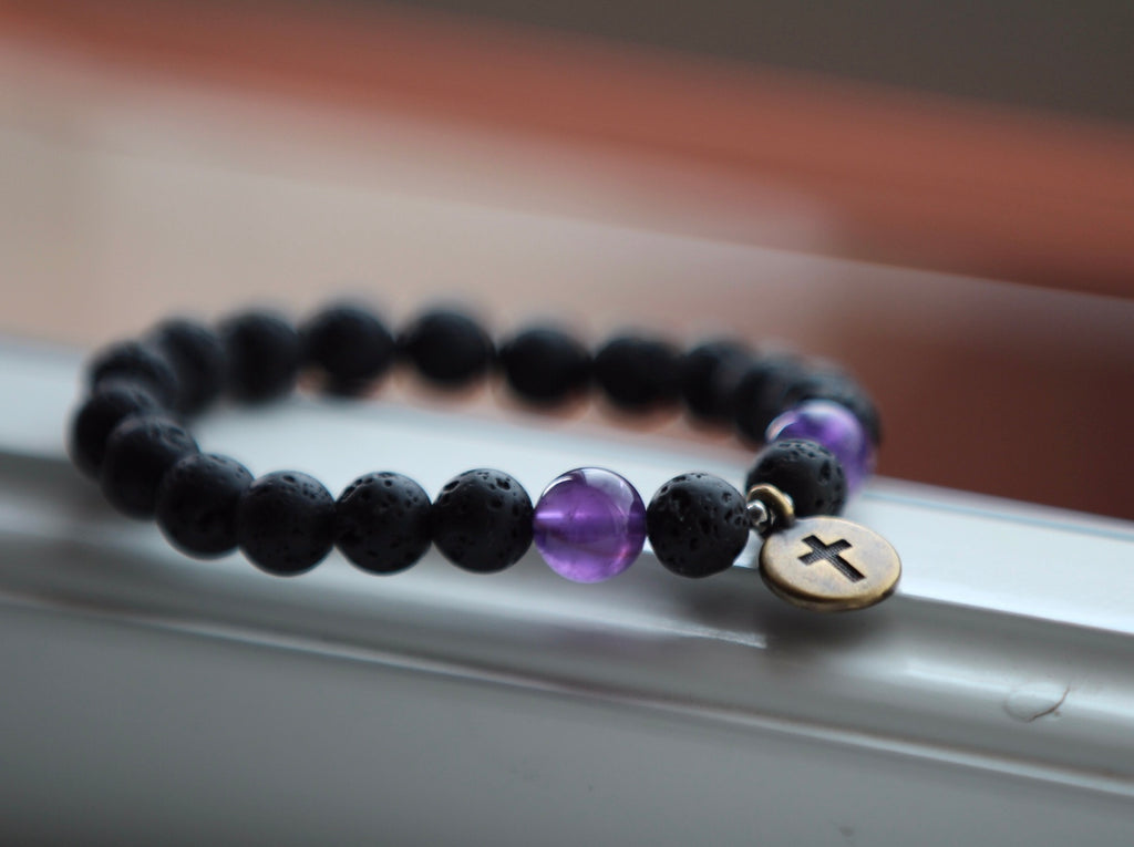 I am guided bracelet in Lava & Amethyst with brass crucifix charm
