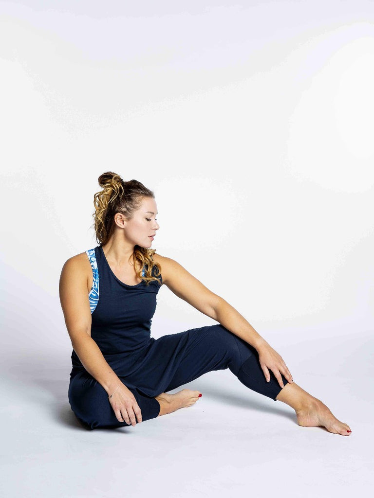 Yoga Navy tank with twisted detail in the back