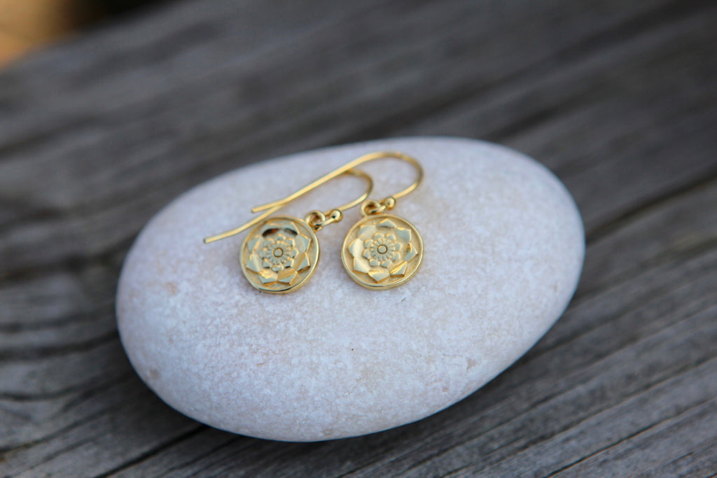 Gold plated silver earrings LOTUS MANDALA