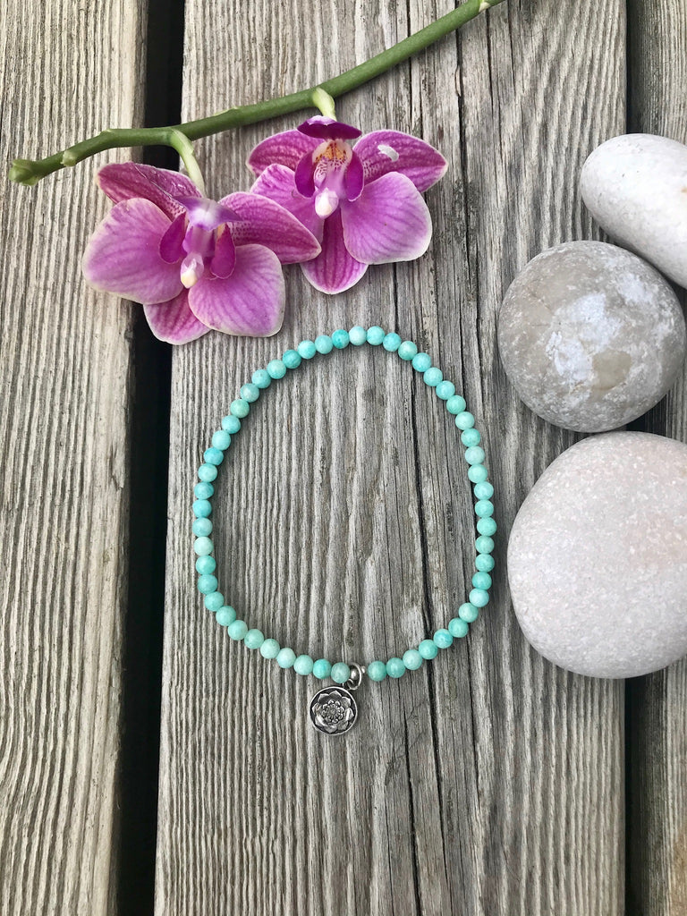HOPE Amazonite bracelet with silver charm Lotus Mandala, small beads approx 4 mm