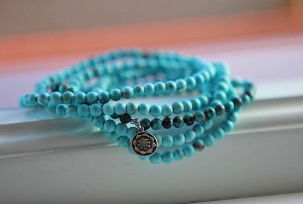 Bracelet wrap in Turquonite and Turquoise with silver charm Lotus flower