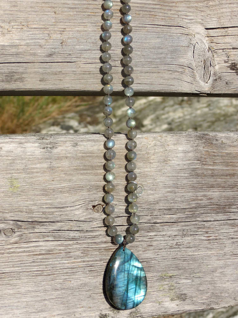 TRANSFORMATION mala in premium Labradorite and silver charm Lotus mandala