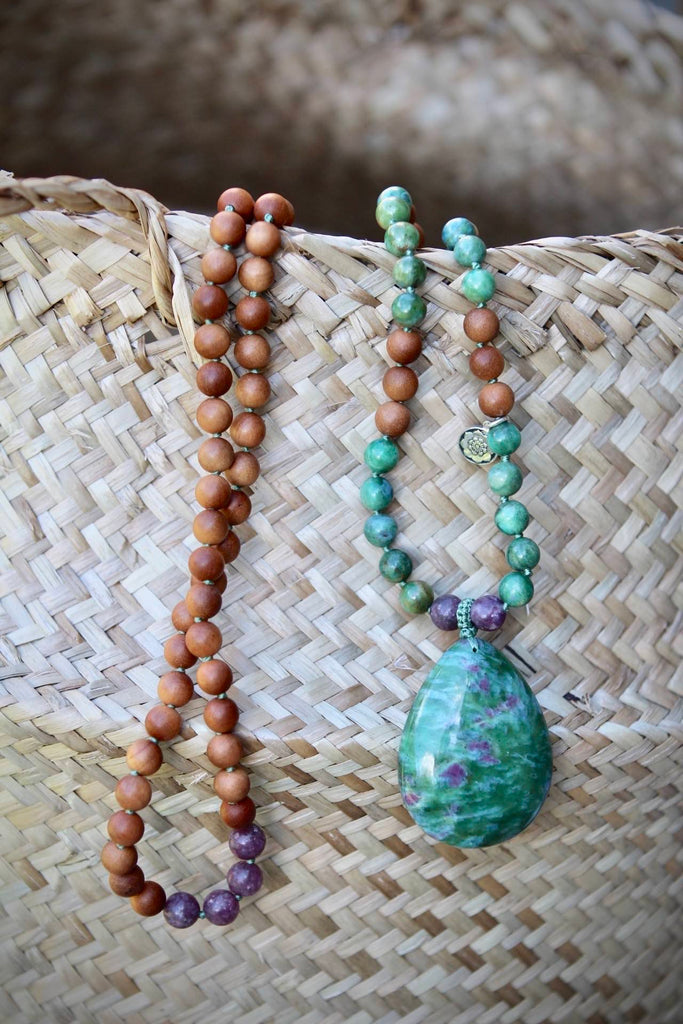 I  HONOUR MYSELF mala in Ruby in Zoisite, Tourmaline & Sandalwood
