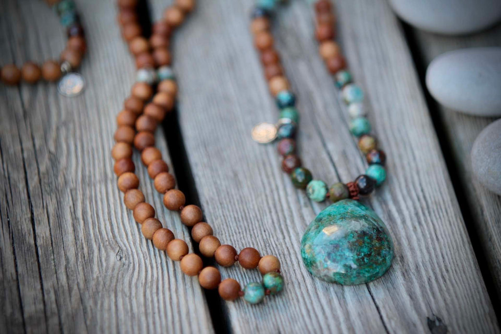 Goddess mala in Chrysocolla & Sandalwood (F)