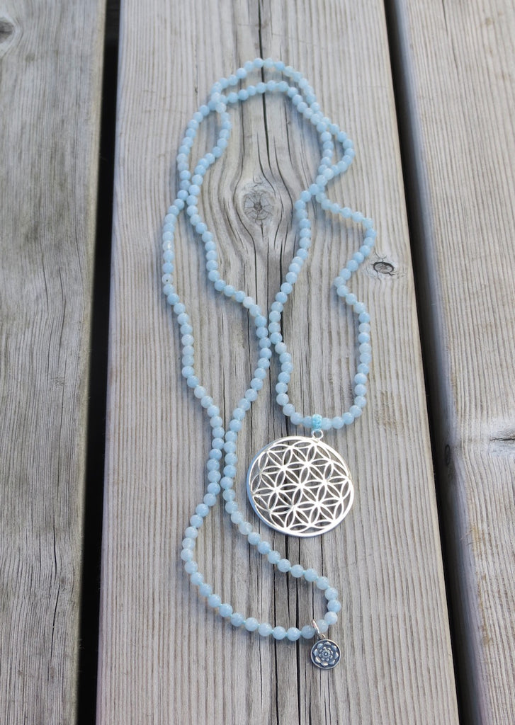 Satya mala in 216 beads Aquamarine with silver Flower of Life
