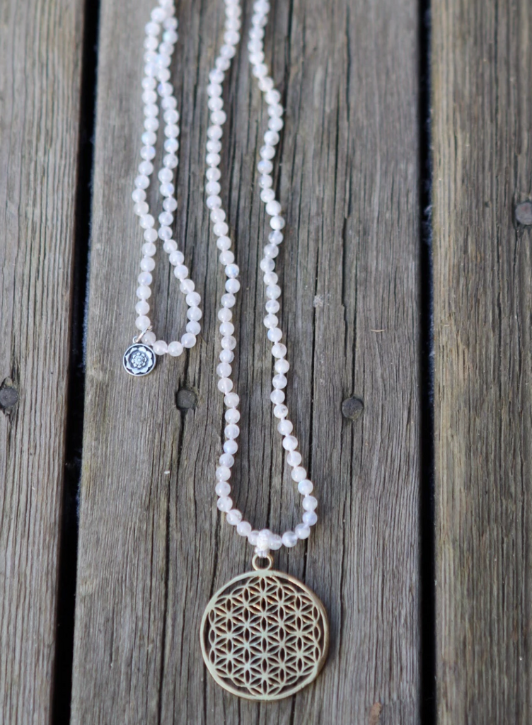 TRULY GRATEFUL MALA in Rainbow Moonstone with brass gurubead Flower of Life