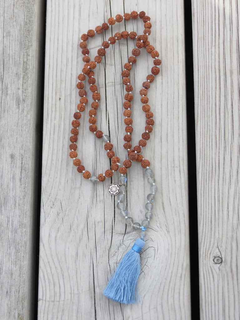 WISDOM mala petite in Labradorite & Rudraksha seeds with tassel and silver charm