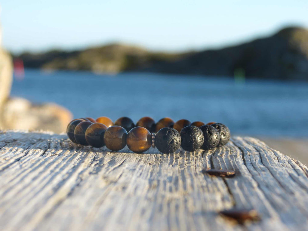 PROTECTION Mens bracelet Lava stone & Tigereye with silver details from Amandas malas