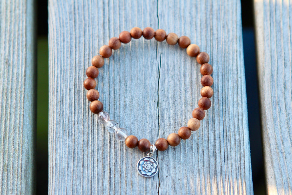 Bracelet Mala in Sandalwood & Super seven crystal with silver logo charm Lotus flower