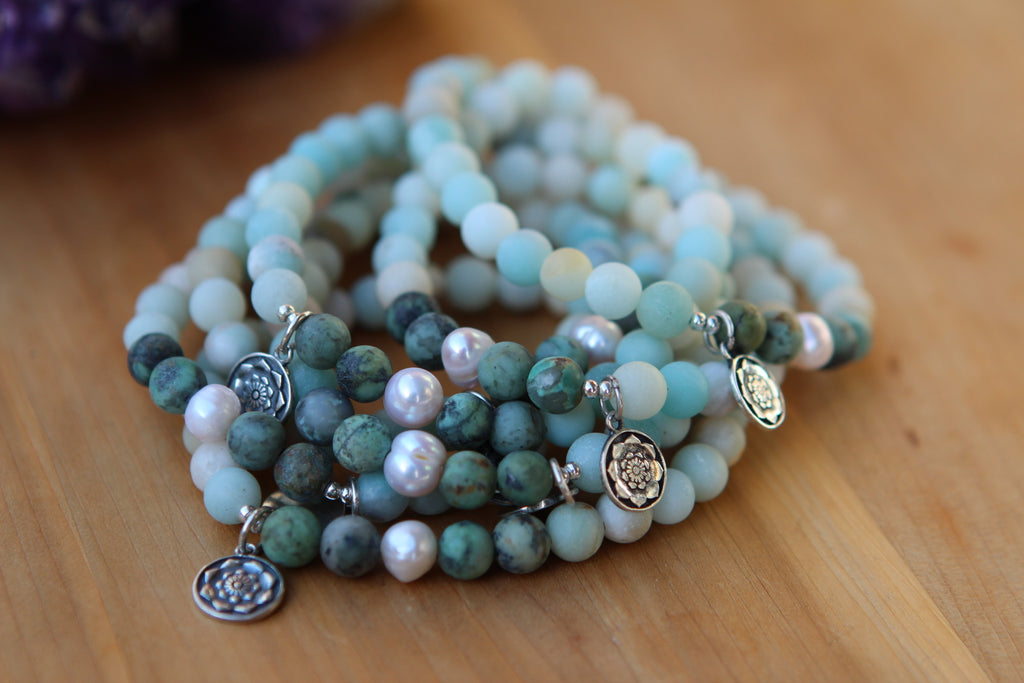 Hope & Protection mala bracelet in African Turquoise, Amazonite and pearls