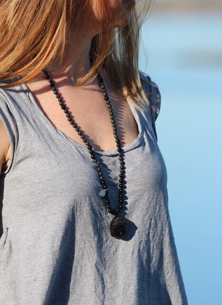 Protection Mala in Black Agate, Lava & Obsidian and Buddha in Obsidian