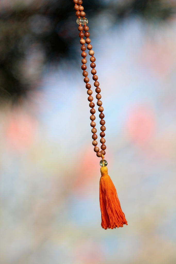Manifestation Mala in premium Sandalwood and Citrine beads and silver charm Lotus Mandala