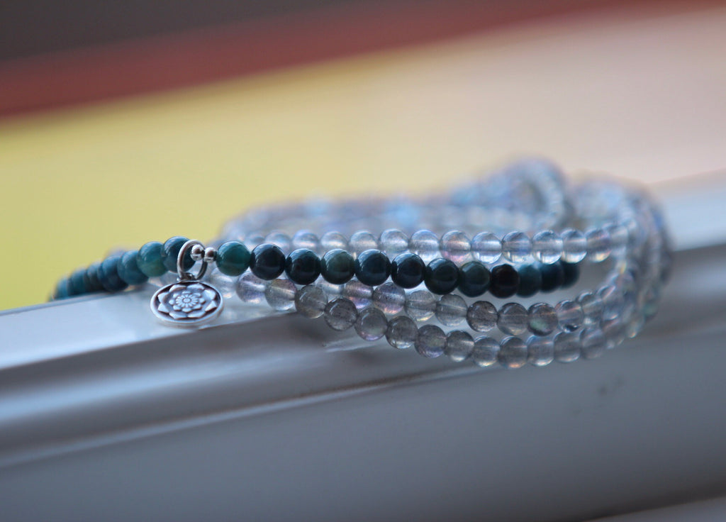 Wrap bracelet necklace anklet in premium Blue Labradorite and Apatite with silver charm Lotus Flower