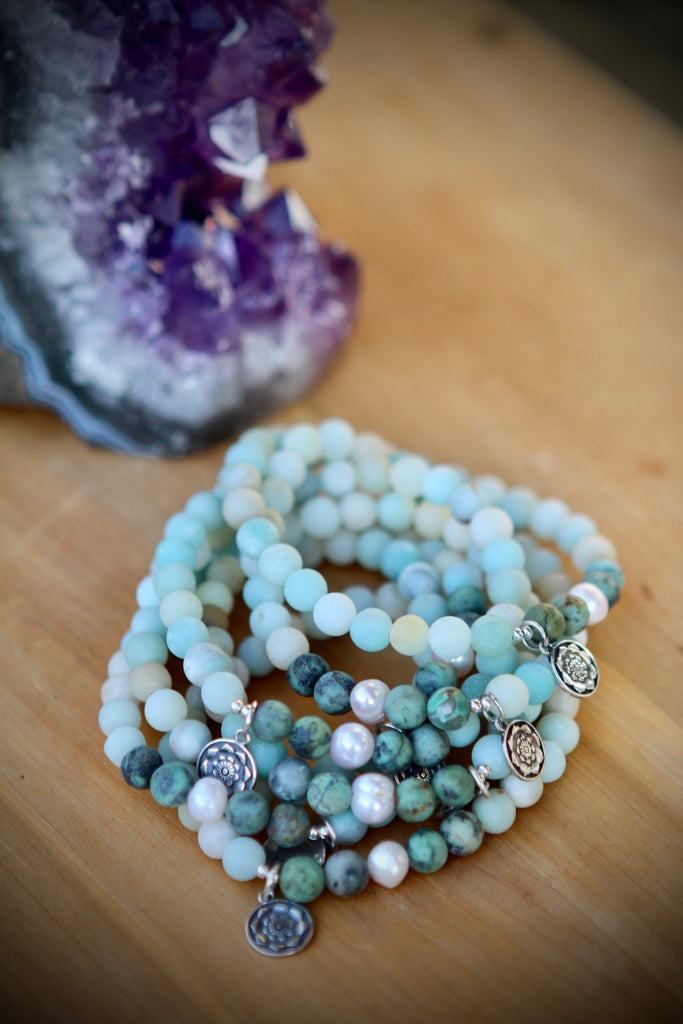 HOPE & PROTECTION Mala bracelet, handcrafted stretchy bracelet in African Turquoise, Amazonite and pearls with silver charm Lotus mandala