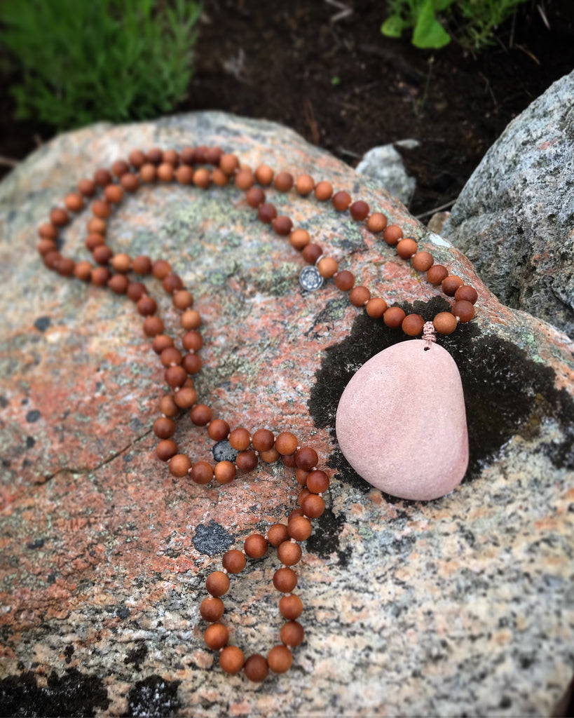 Nordic Love Mala in Sandalwood with a gurubead handpicked on a Beach in Scandinavia
