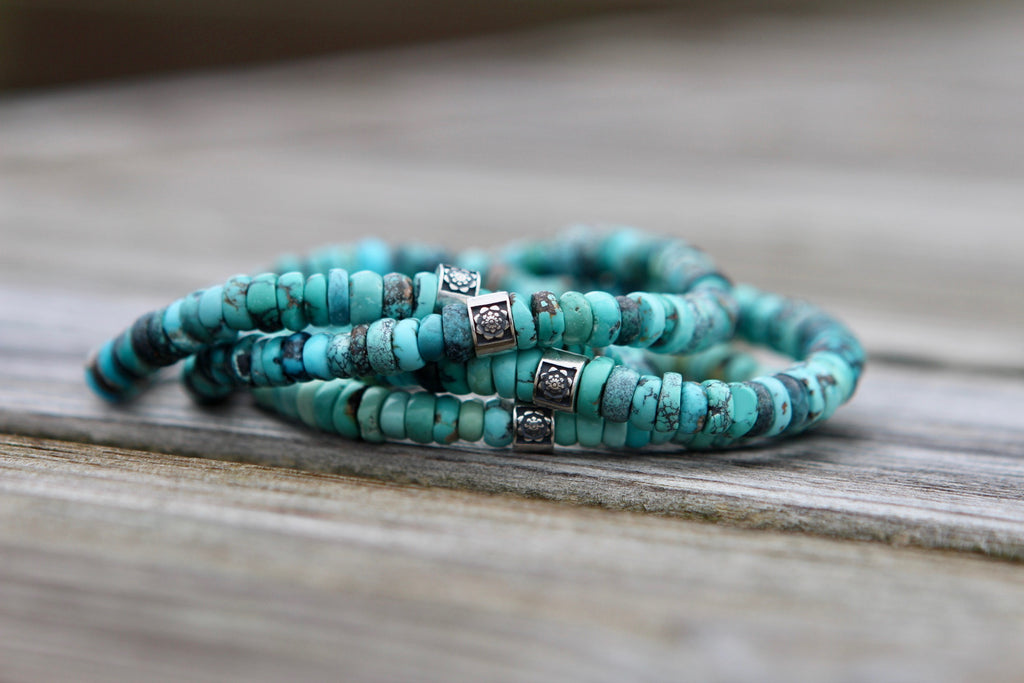 Truth bracelet in premium Turquoise with silver bead Lotus flower