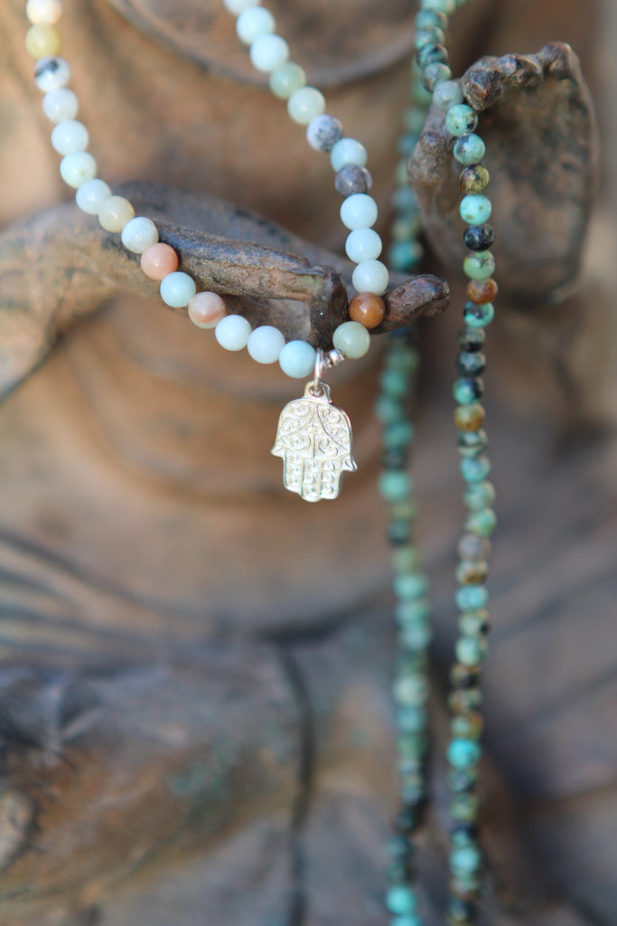 Peace Wrap bracelet anklet or necklace in Amazonite & African Turquaoise with silver Hamsa charm