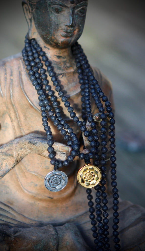 I am Fierce, I am strong Mala in 216 lava beads and goldplated silver charm Lotus Flower