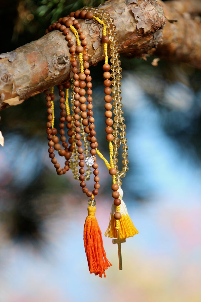 Sunkissed Love mala in premium Citrine beads with silver charm Lotus flower charm