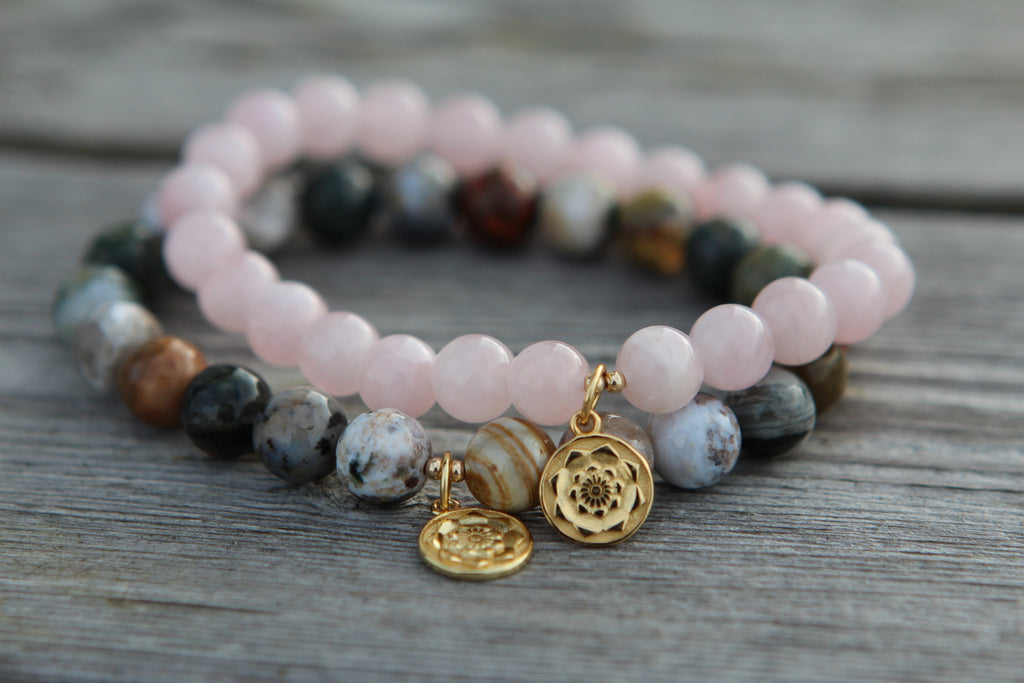 Love bracelet in premium Rose quartz with gold plated silver Lotus Mandala