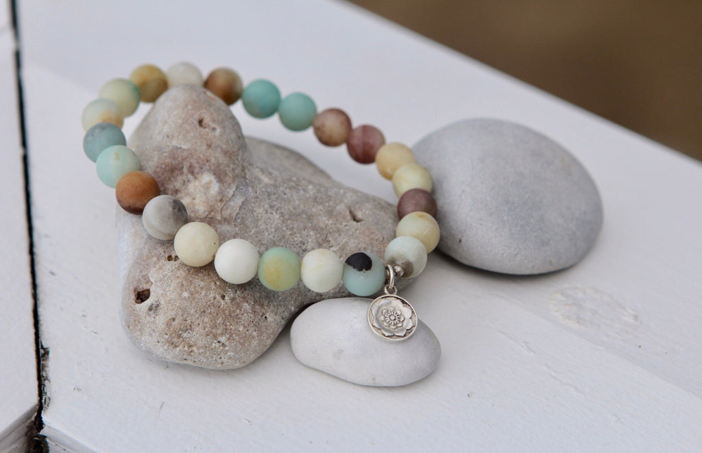 HOPE Amazonite bracelet with silver charm Lotus Mandala Lotus Flower