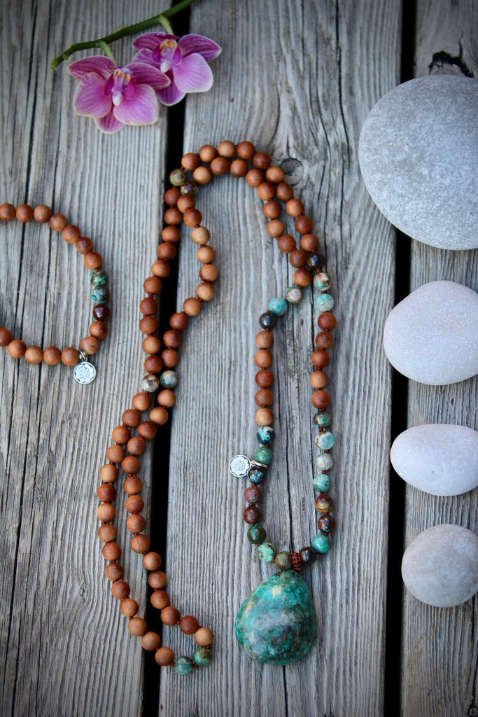 Goddess mala in Chrysocolla & Sandalwood (E)