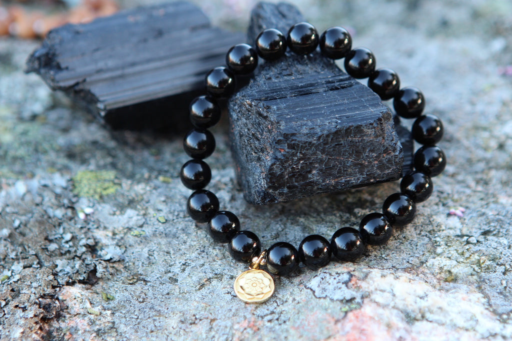 I am Protected Bracelet mala in Black Agate with gold plated silver charm Lotus flower