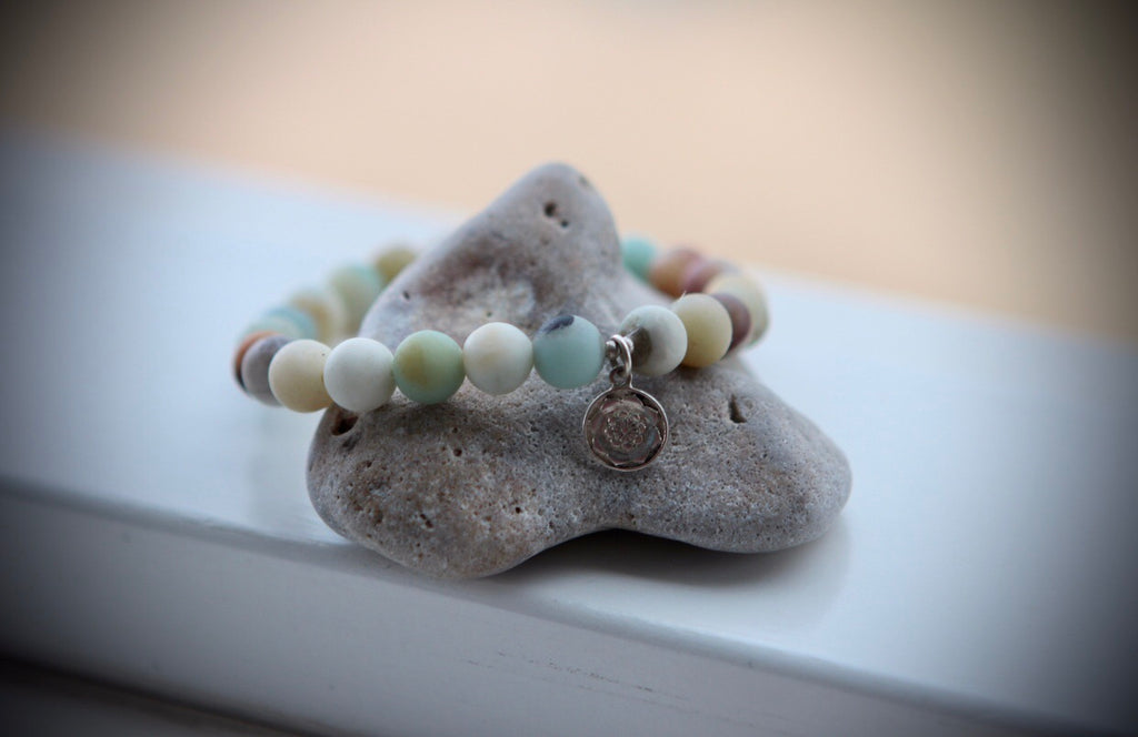Amazonite bracelet with silvercharm Lotus Mandala