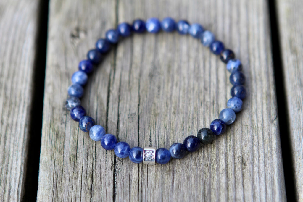 Healing & Intuition Sodalite mala bracelet with silver bead Lotus flower