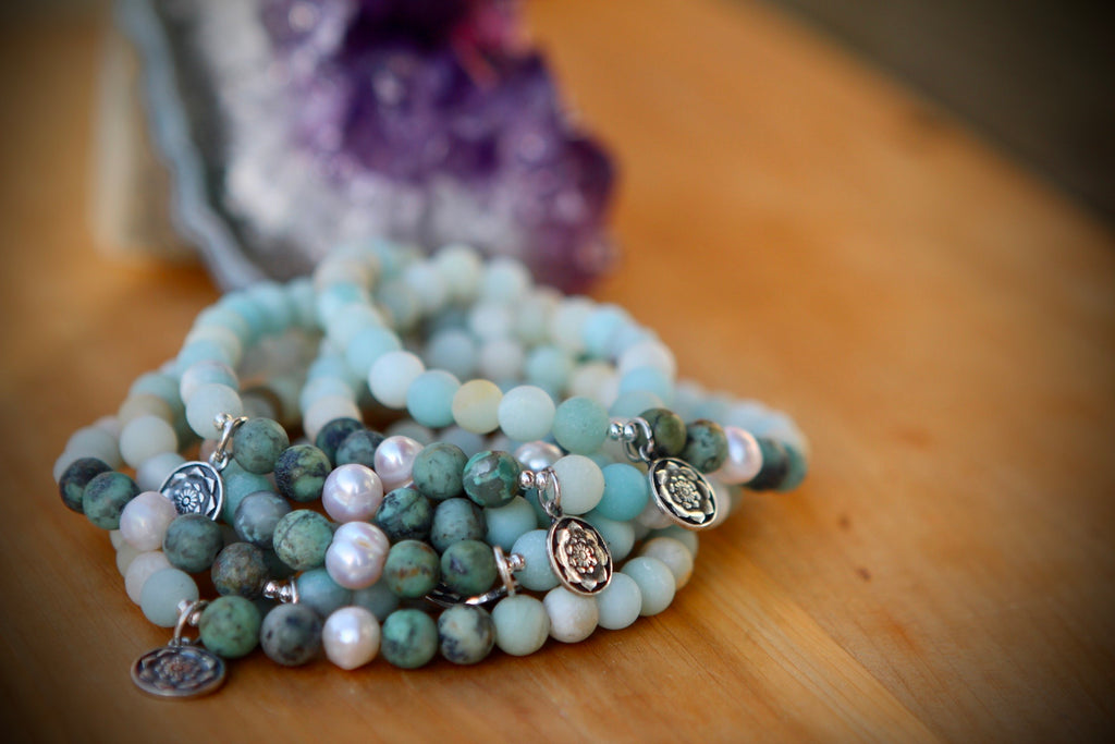 HOPE & PROTECTION Mala bracelet, handcrafted stretchy bracelet in African Turquoise, Amazonite and pearls with silver charm Lotus flower