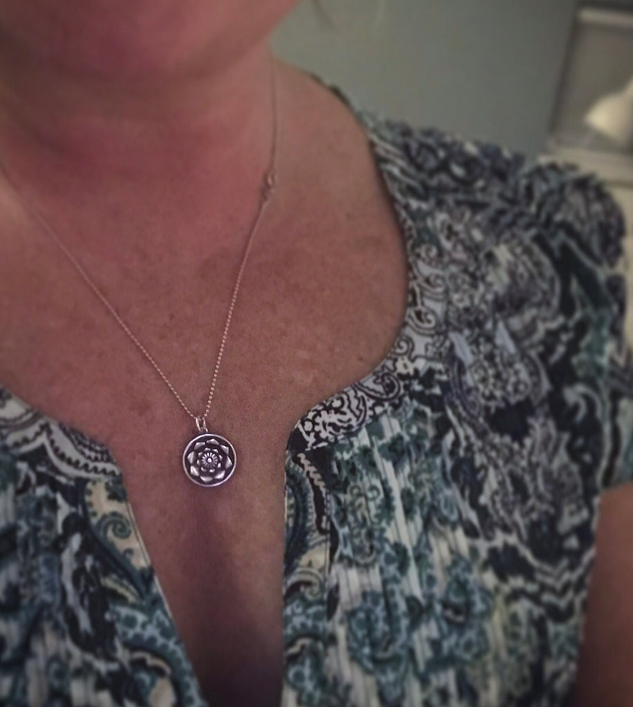 I AM necklace in silver Lotus Mandala