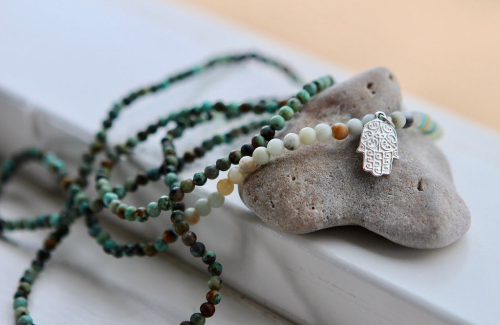 Wrap bracelet anklet or necklace in Amazonite & African Turquoise with silver Hamsa charm