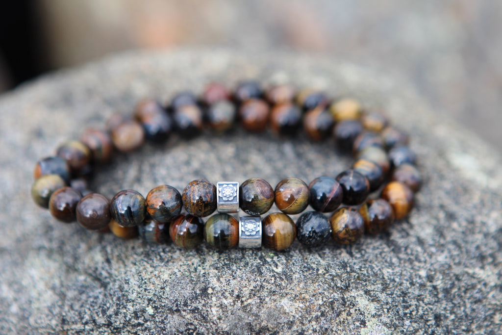 Clarity & Balance mala bracelet in Blue tiger eye and silver Lotus bead