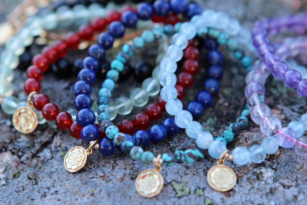 Bracelet Mala in premium Gem stones with gold plated silver Lotus flower