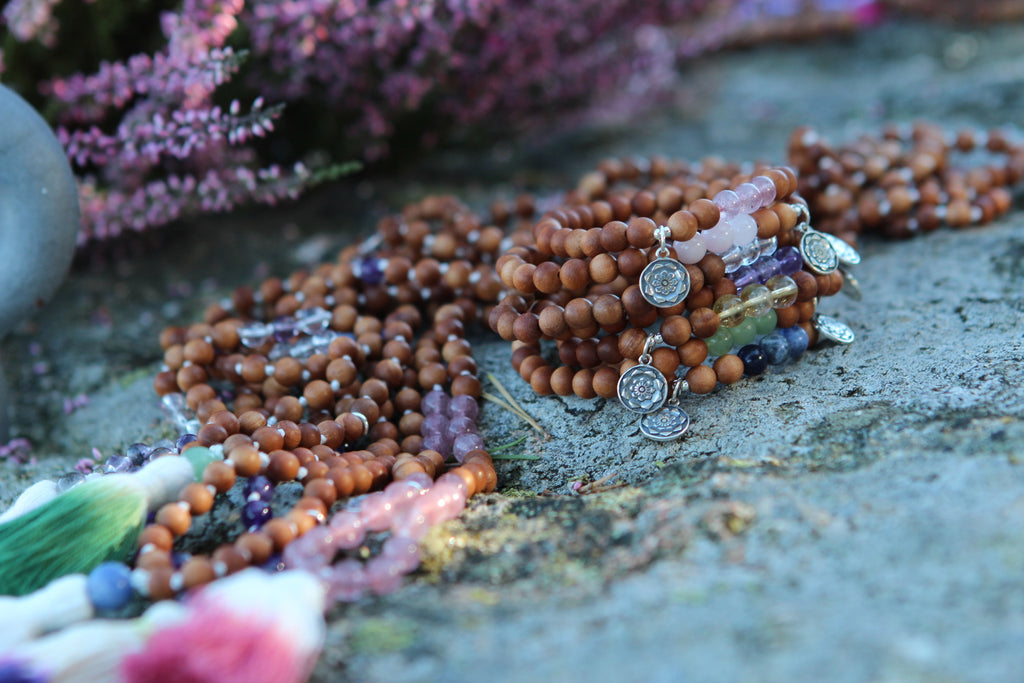 Blossoming through LOVE mala in Sandalwood & Strawberry Rosequartz