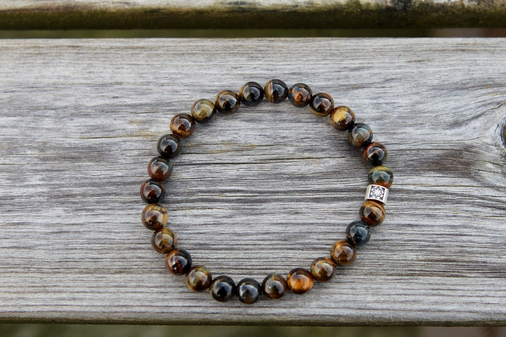 Clarity & Balance bracelet in Blue tiger eye and silver Lotus bead